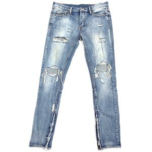 MNML Deconstruct Ankle Zip Straight Leg Jeans
